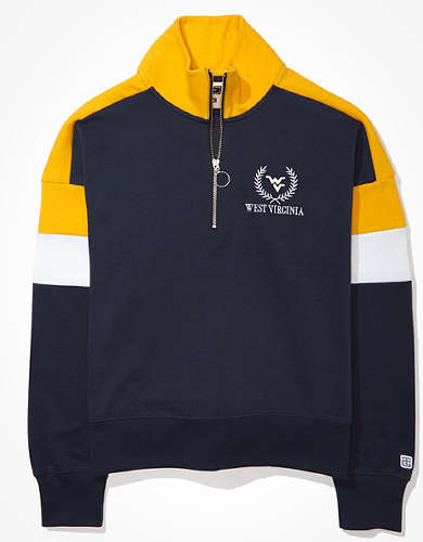 Tailgate Women's WVU Mountaineers Colorblock 1/4 Zip Sweatshirt