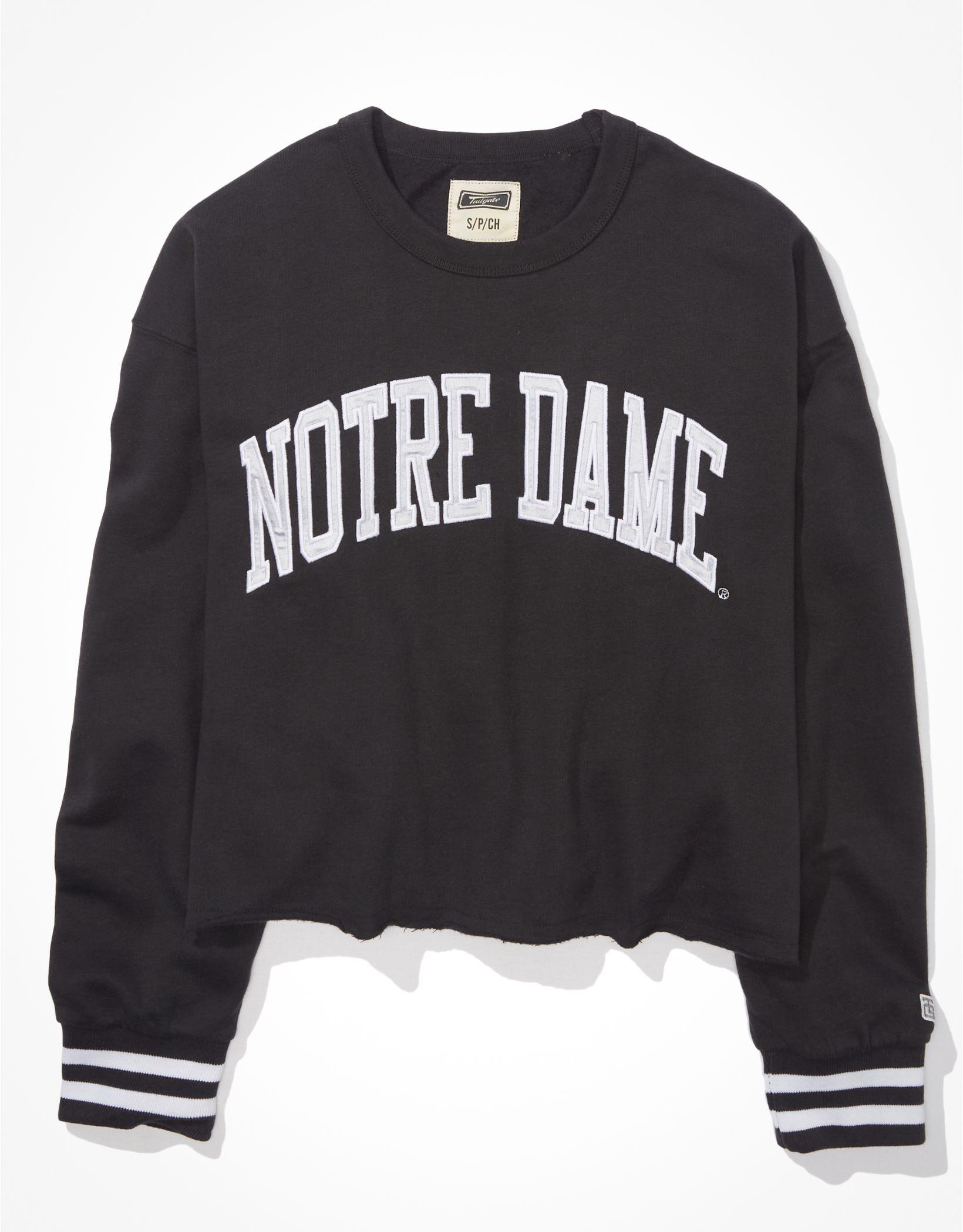 Tailgate Women's Notre Dame Tipped Raw Hem Sweatshirt