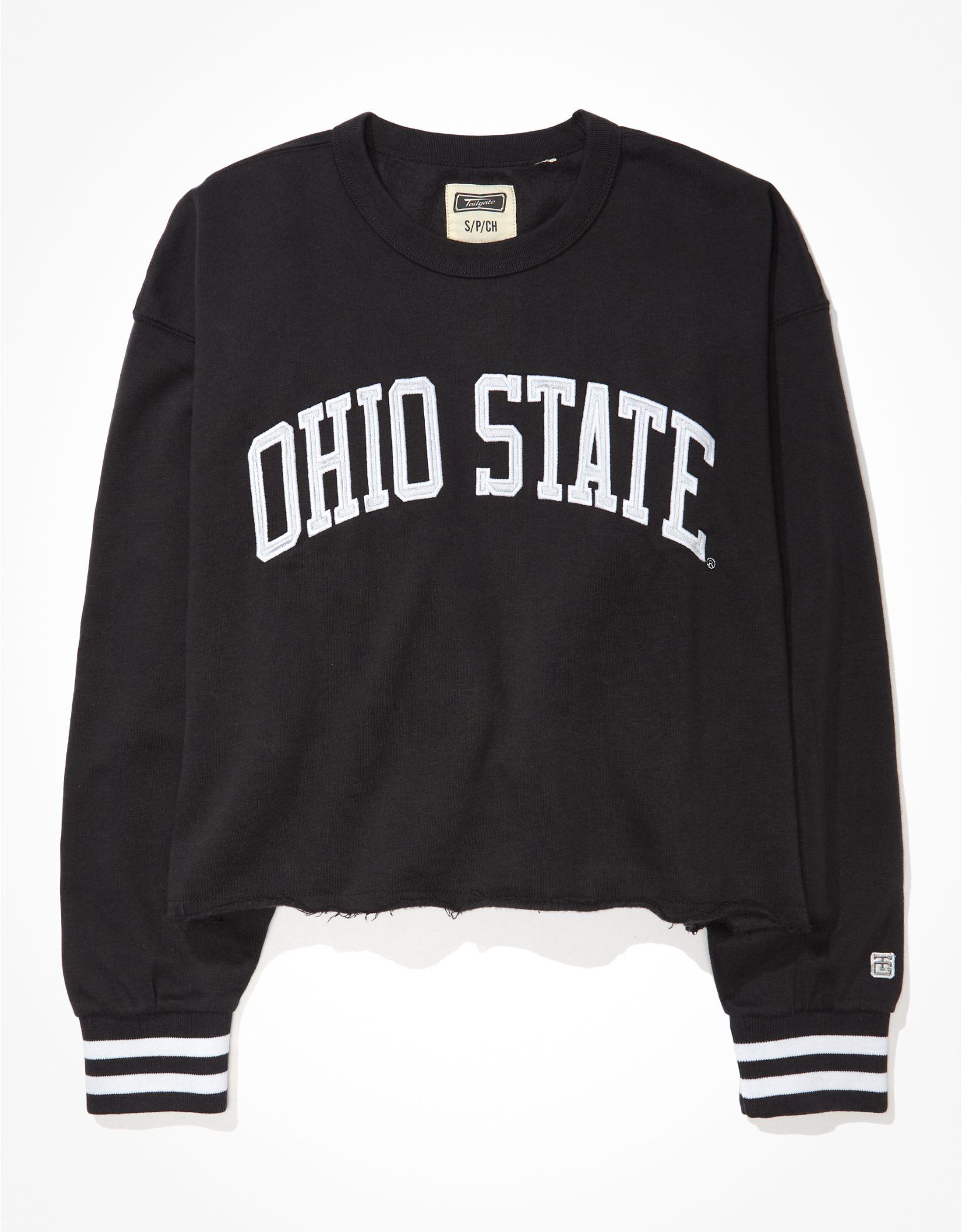 Tailgate Women's OSU Buckeyes Tipped Raw Hem Sweatshirt