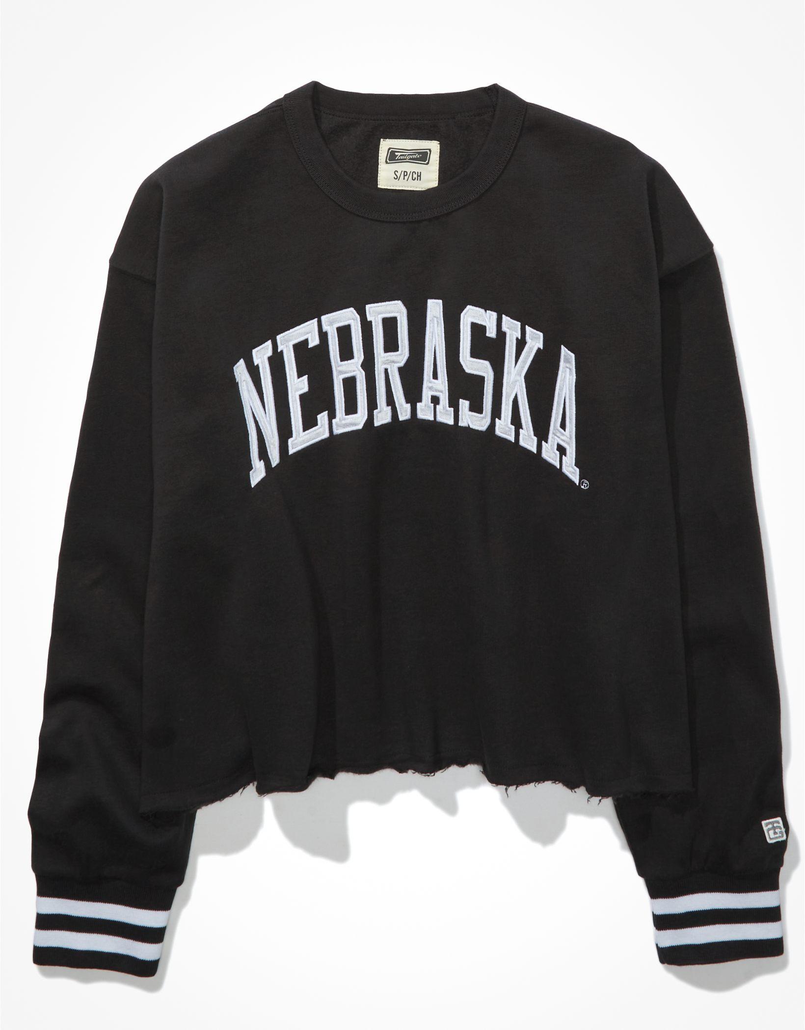 Tailgate Women's Nebraska Cornhuskers Tipped Raw Hem Sweatshirt