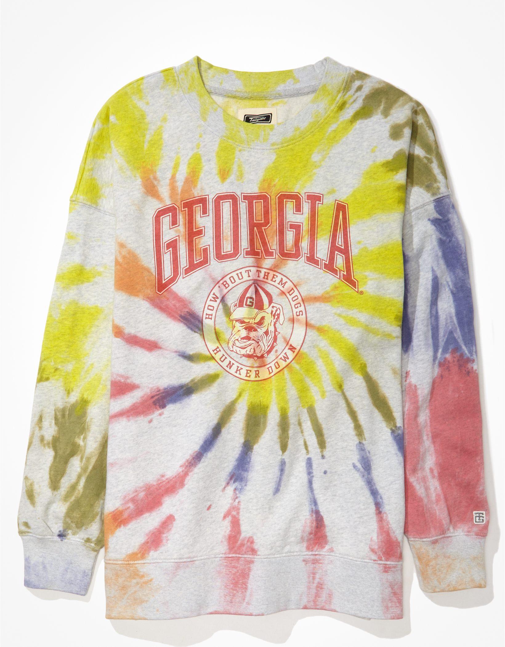 Tailgate Women's Georgia Bulldogs Oversized Tie-Dye Sweatshirt