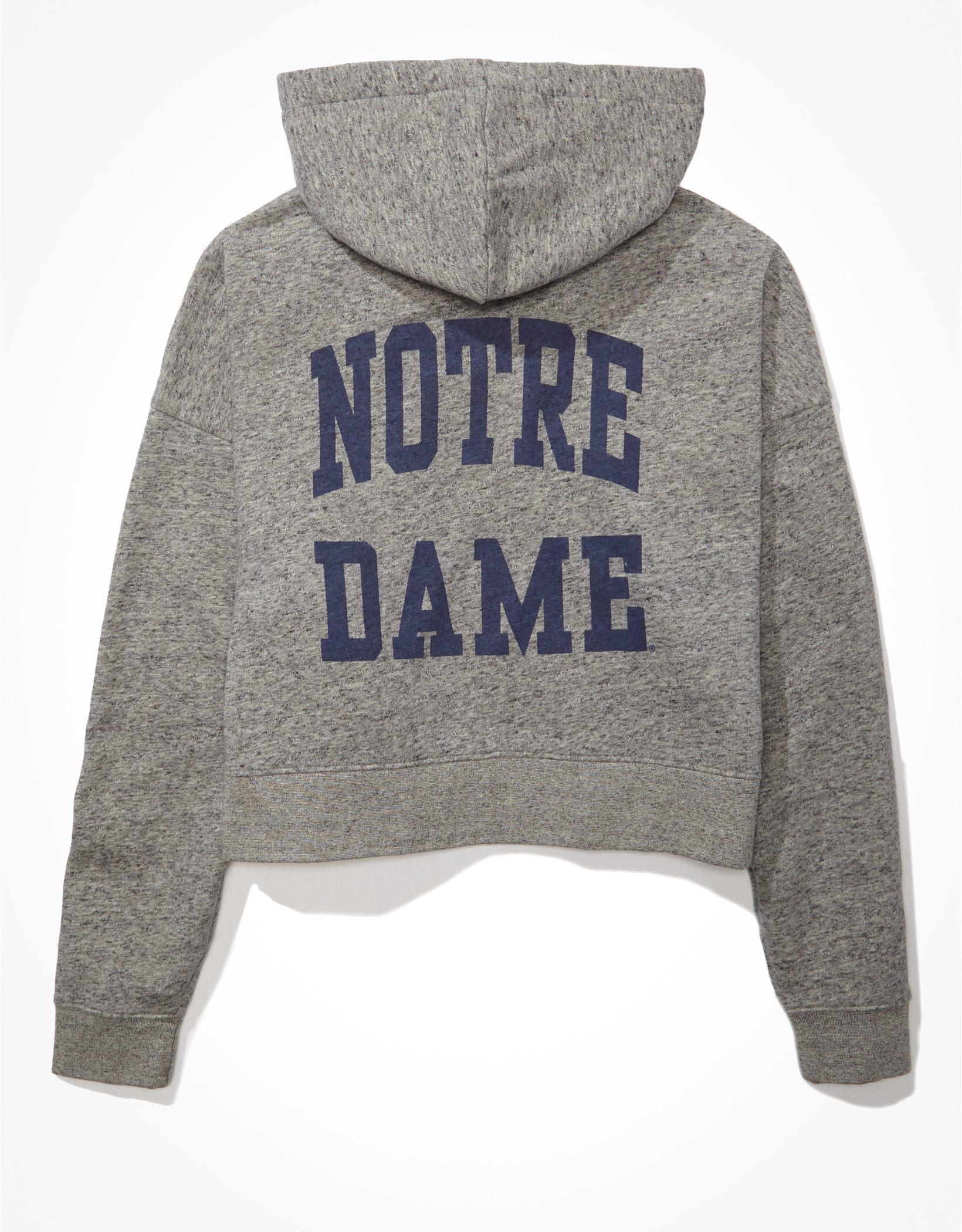 Tailgate Women's Notre Dame Cropped Zip-Up Fleece Hoodie