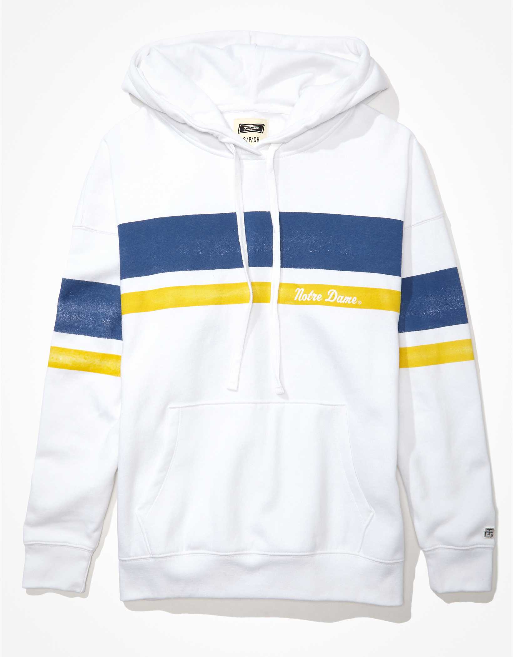 Tailgate Women's Notre Dame Oversized Striped Hoodie