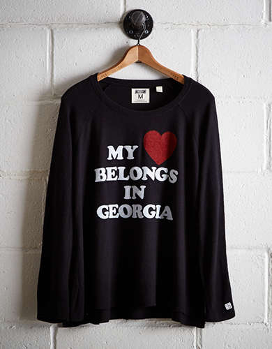 Tailgate Women's My Heart In Georgia Plush Tee - Free Returns