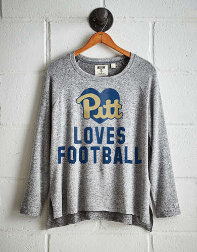 Tailgate Women's Pitt Loves Football Plush Tee - Free Returns