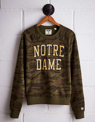 Tailgate Women's Notre Dame Camo Fleece Sweatshirt - Free Returns