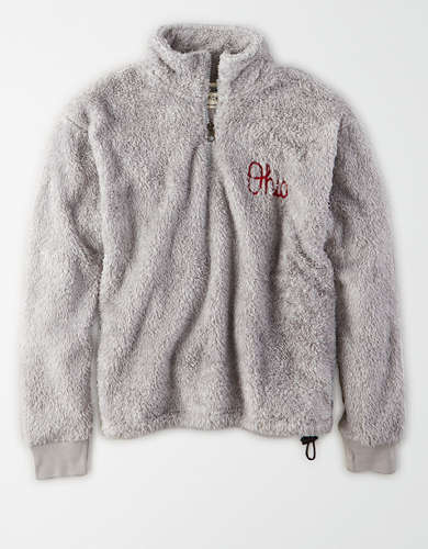 Tailgate Women's Ohio State Sherpa Zip-Up Sweatshirt