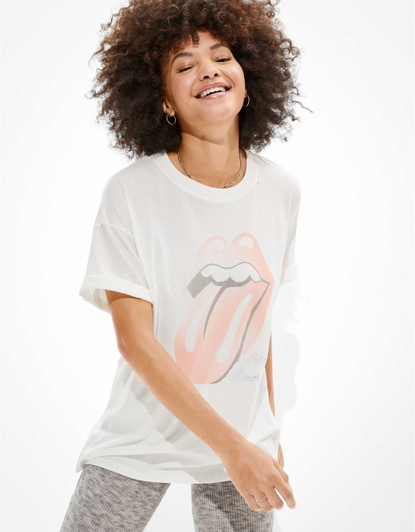 AE Oversized Rolling Stones Graphic T-Shirt