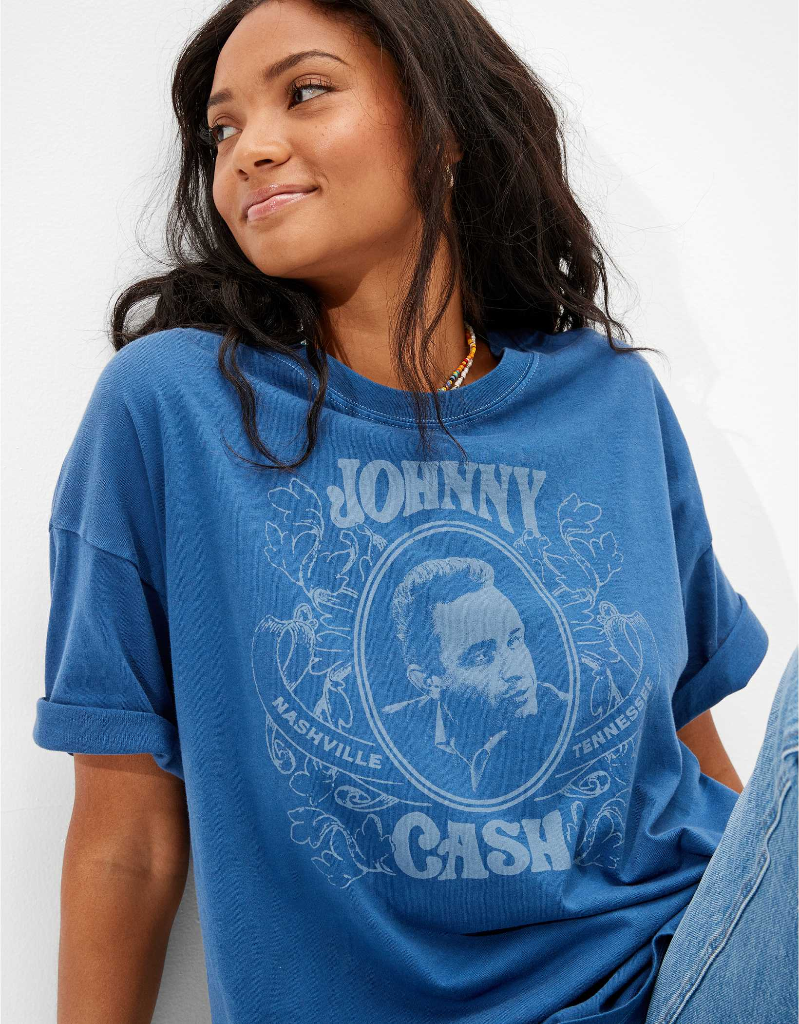 AE Oversized Johnny Cash Graphic T-Shirt