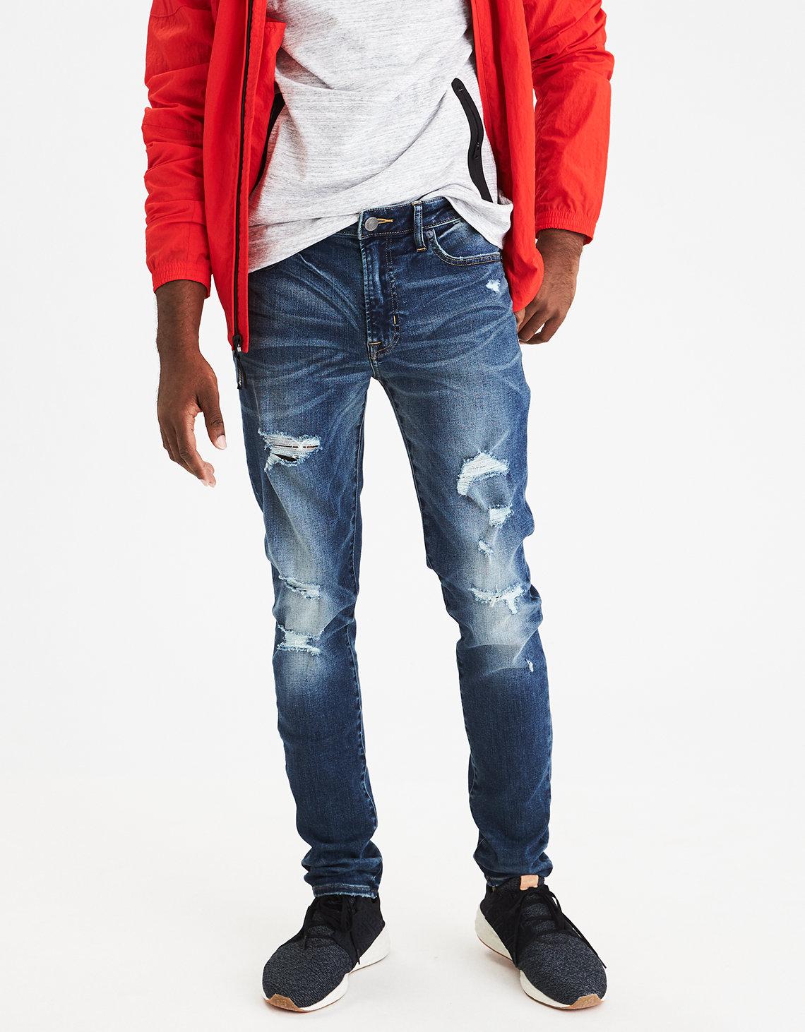 AEO Extreme Flex Super Skinny Jean, Medium Destroy | American Eagle  Outfitters - AEO Extreme Flex Super Skinny Jean, Medium Destroy American