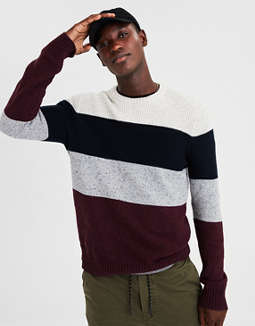 Ae Colorblock Crewneck Sweater by American Eagle Outfitters