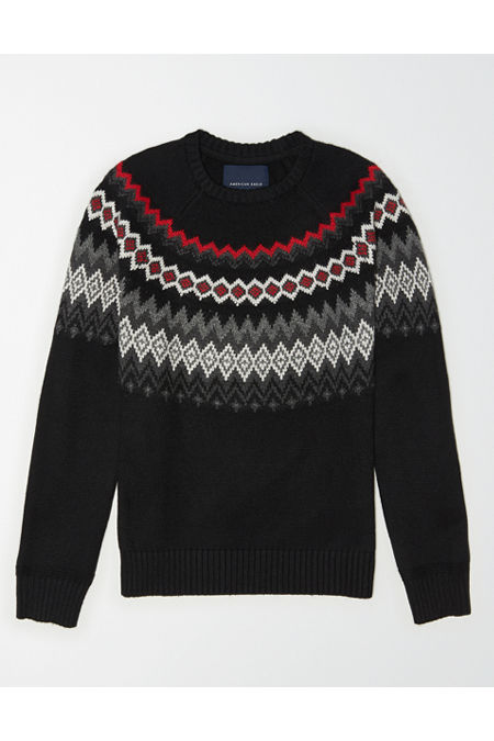 Men's Vintage Sweaters – 1920s to 1960s Retro Jumpers AE FairIsle Crew Neck Sweater Mens Black XL Tall $49.95 AT vintagedancer.com