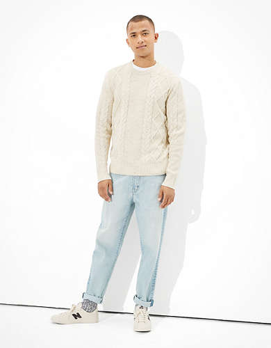 AE Super Soft Cable Knit Crew Neck Sweater