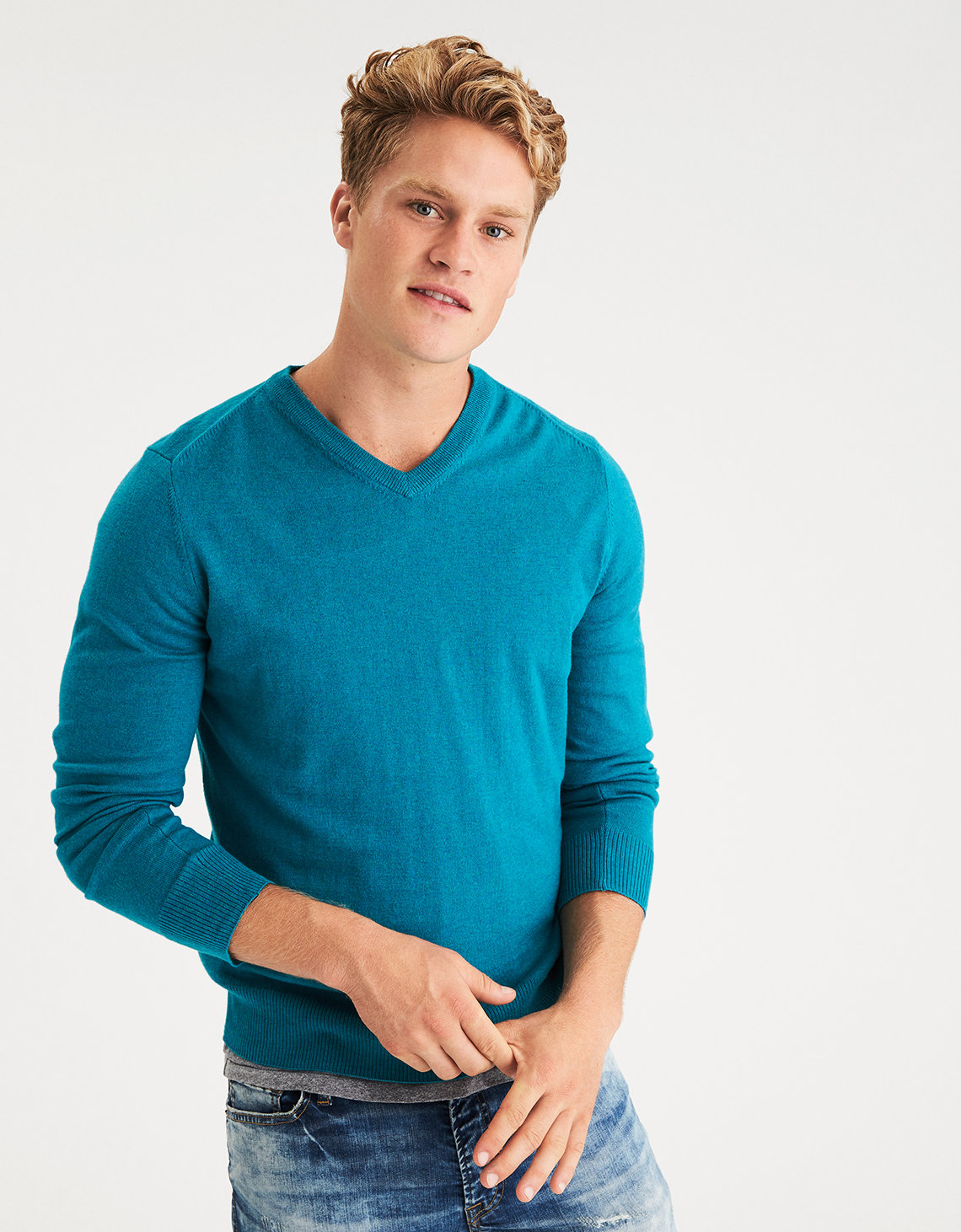 AE V-Neck Sweater, Light Blue | American Eagle Outfitters