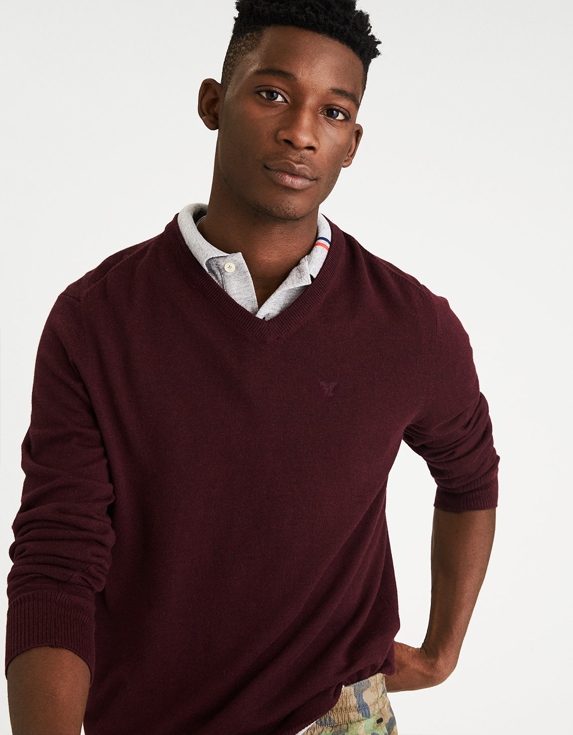 AE V-Neck Sweater, Red | American Eagle Outfitters