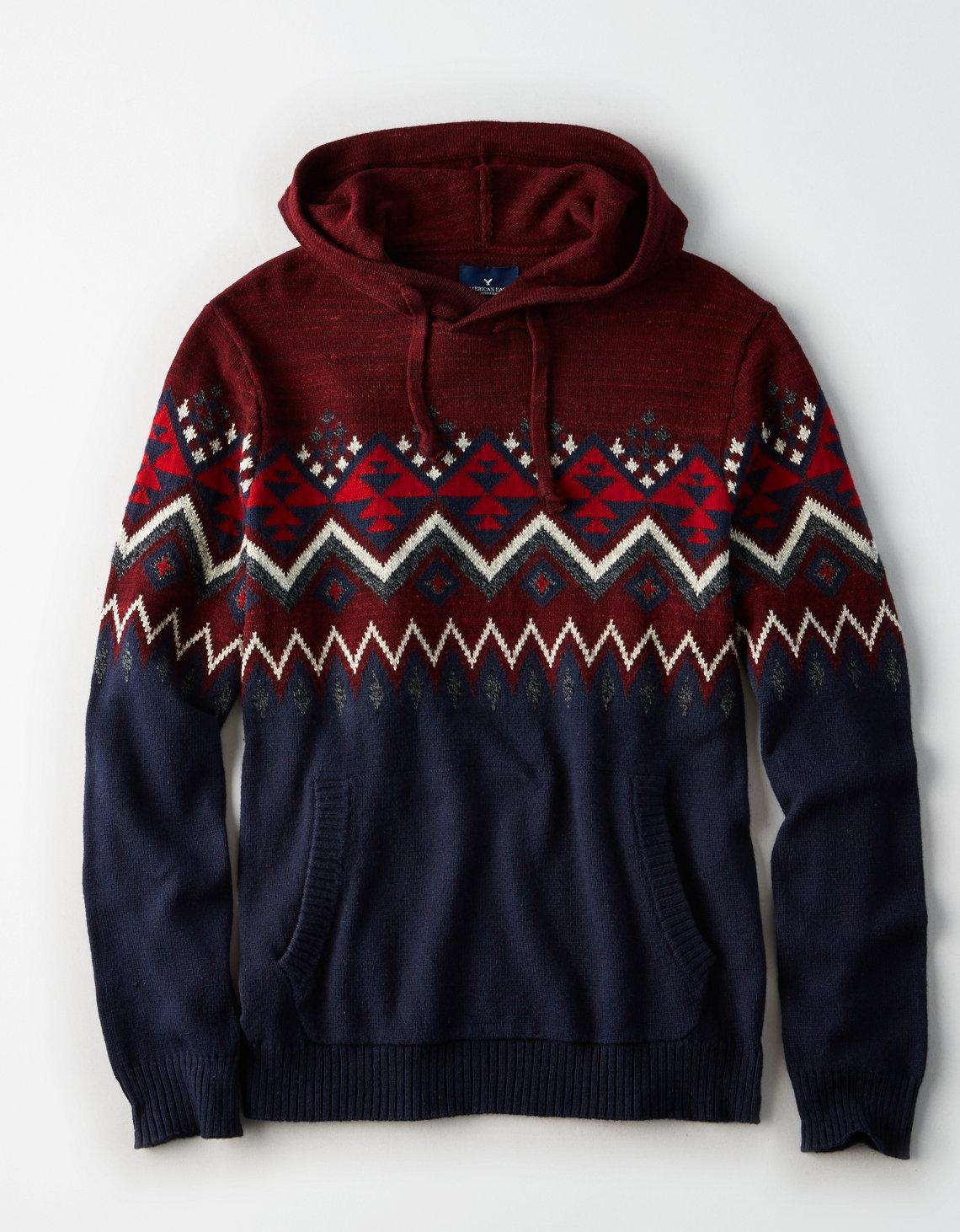 AE Baja Sweater Hoodie, Burgundy | American Eagle Outfitters