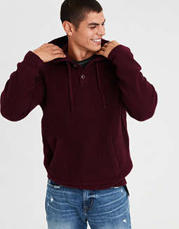 Ae Henley Baja Sweater Hoodie by American Eagle Outfitters