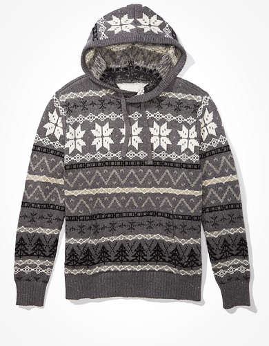 AE Super Soft Fairisle Hooded Sweater