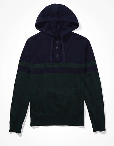 AE Super Soft Henley Hooded Sweater