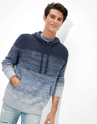 AE Super Soft Ombre Striped Hooded Sweater