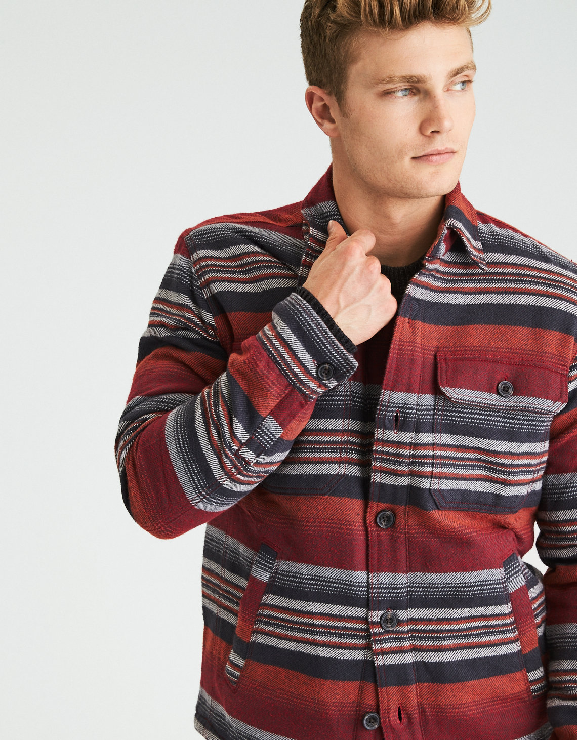 AEO Lined Flannel Shirt Jacket, Multi | American Eagle Outfitters