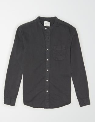 AE Льняная рубашка на пуговицах с воротником стойкой