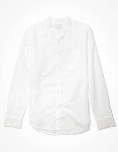 AE リネン バンドカラー ボタンアップシャツ