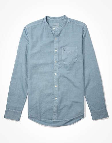 AE Linen Band Collar Button-Up Shirt