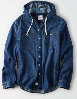 AE Denim Hooded Shirt