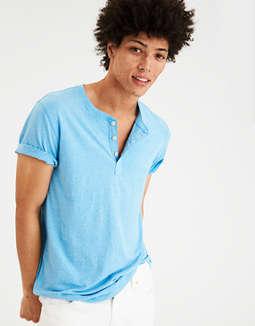 AE Flex Henley, Light Blue | American Eagle Outfitters American Eagle Outfitters
