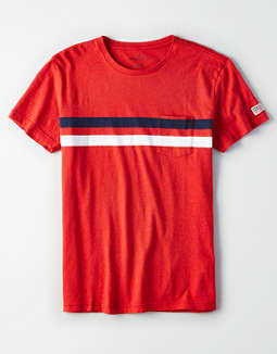 Ae Americana Striped Pocket T Shirt by American Eagle Outfitters