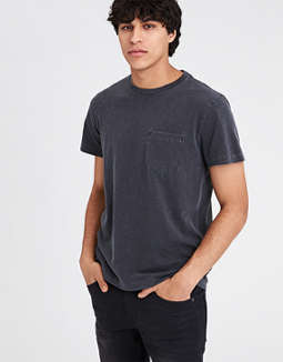 Ae Garment Dyed Heather Pocket T Shirt by American Eagle Outfitters