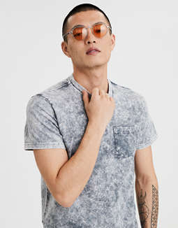 Ae Short Sleeve Acid Wash Pocket T Shirt by American Eagle Outfitters