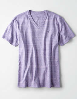 AE Short Sleeve Heathered Logo V-Neck T-Shirt