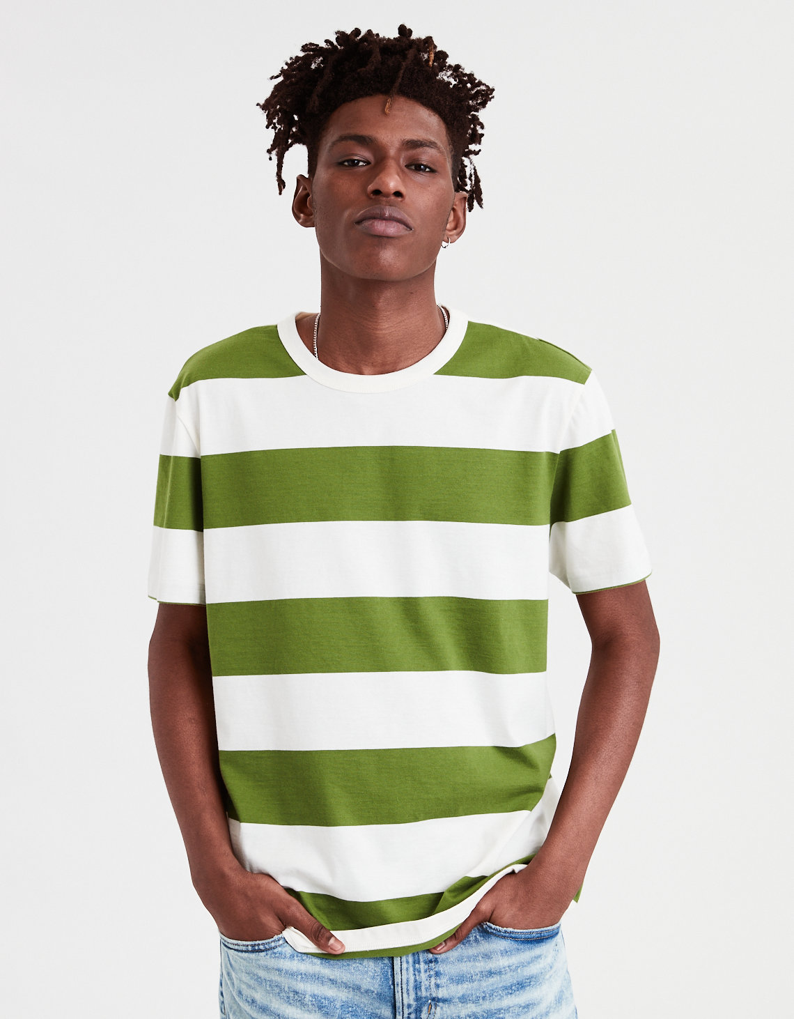 1266446725 AE Rugby Stripe T-Shirt, Olive | American Eagle Outfitters