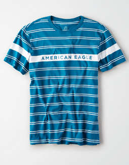 AE Short Sleeve Striped Logo T-Shirt