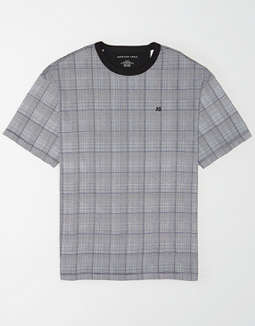 AE Plaid Drop-Shoulder Logo T-Shirt