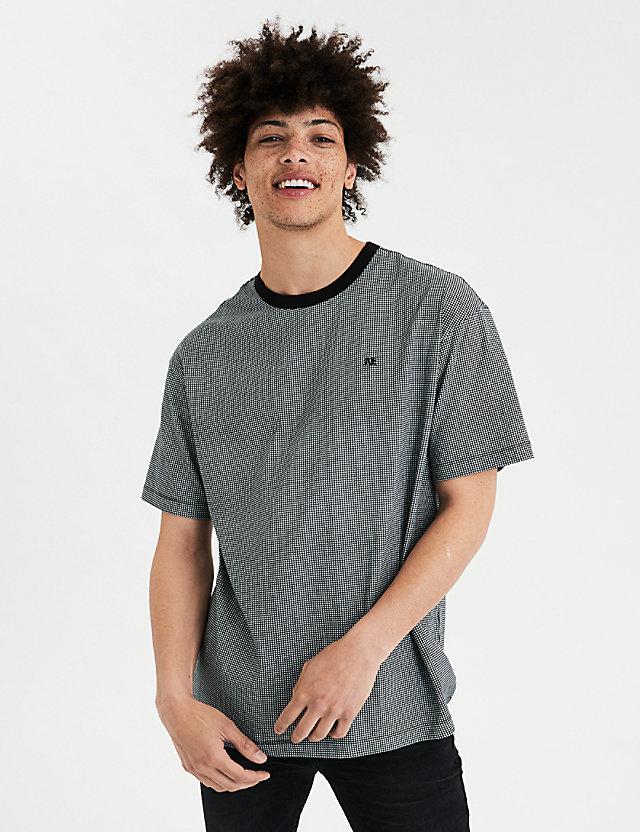 AE Plaid Drop-Shoulder Logo T-Shirt