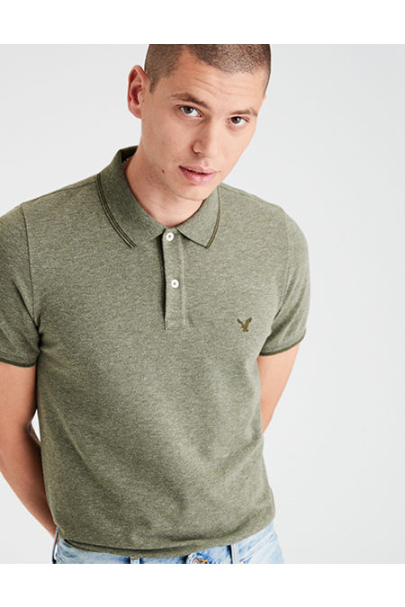 AE Tipped Stretch Pique Logo Polo