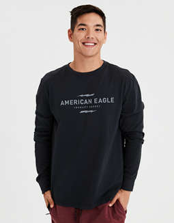 Ae Long Sleeve Reflective Graphic Tee by American Eagle Outfitters