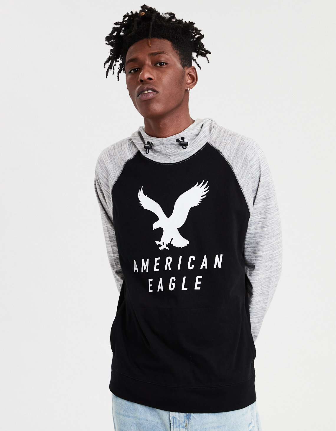 f18ebce04 AE Raglan Graphic Hoodie Tee, Black | American Eagle Outfitters