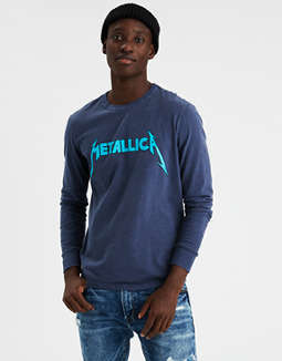 Ae Metallica Long Sleeve Graphic Tee by American Eagle Outfitters