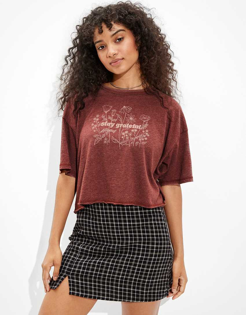 AE Cropped Stay Grateful Graphic T-Shirt