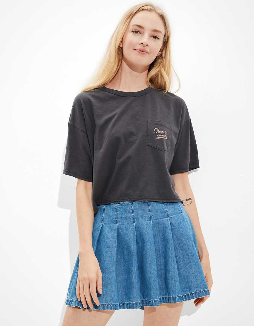 AE Cropped Time For Change Graphic T-Shirt
