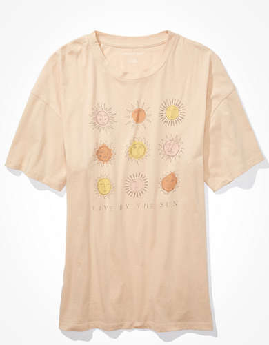 AE Oversized Sun Grid Graphic T-Shirt