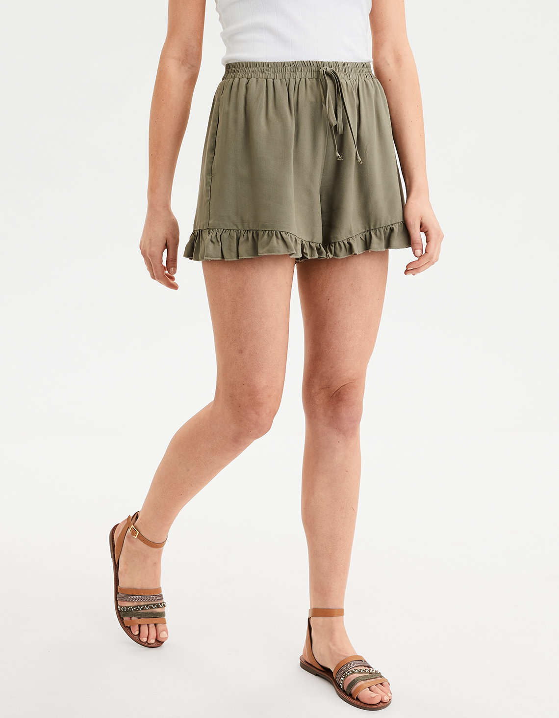 47cd747312 AE High-Waisted Ruffle Hem Short, Olive | American Eagle Outfitters