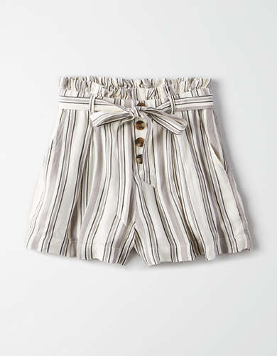 AE High-Waisted Striped Button Front Runner Short