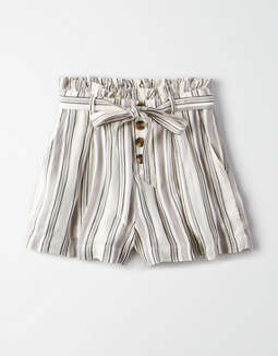 Ae High Waisted Striped Button Front Runner Short by American Eagle Outfitters