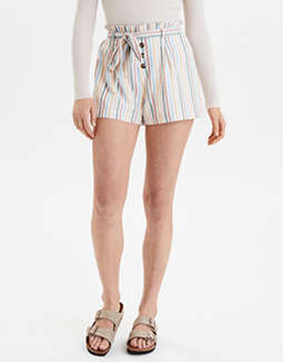 AE High-Waisted Striped Button Front Paperbag Short