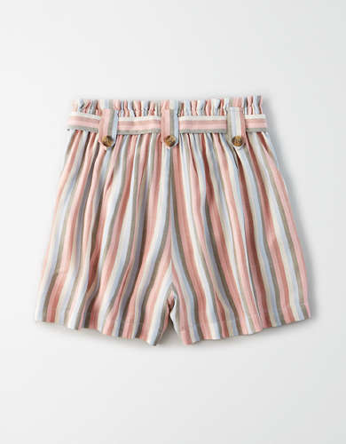AE High-Waisted Striped Paperbag Short